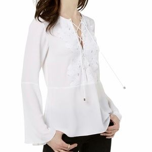 Michael Kors Flare Sleeves Lace-up Blouse Top